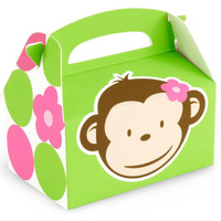 Pink Mod Monkey Empty Favor Boxes