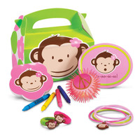 Pink Mod Monkey Party Favor Box