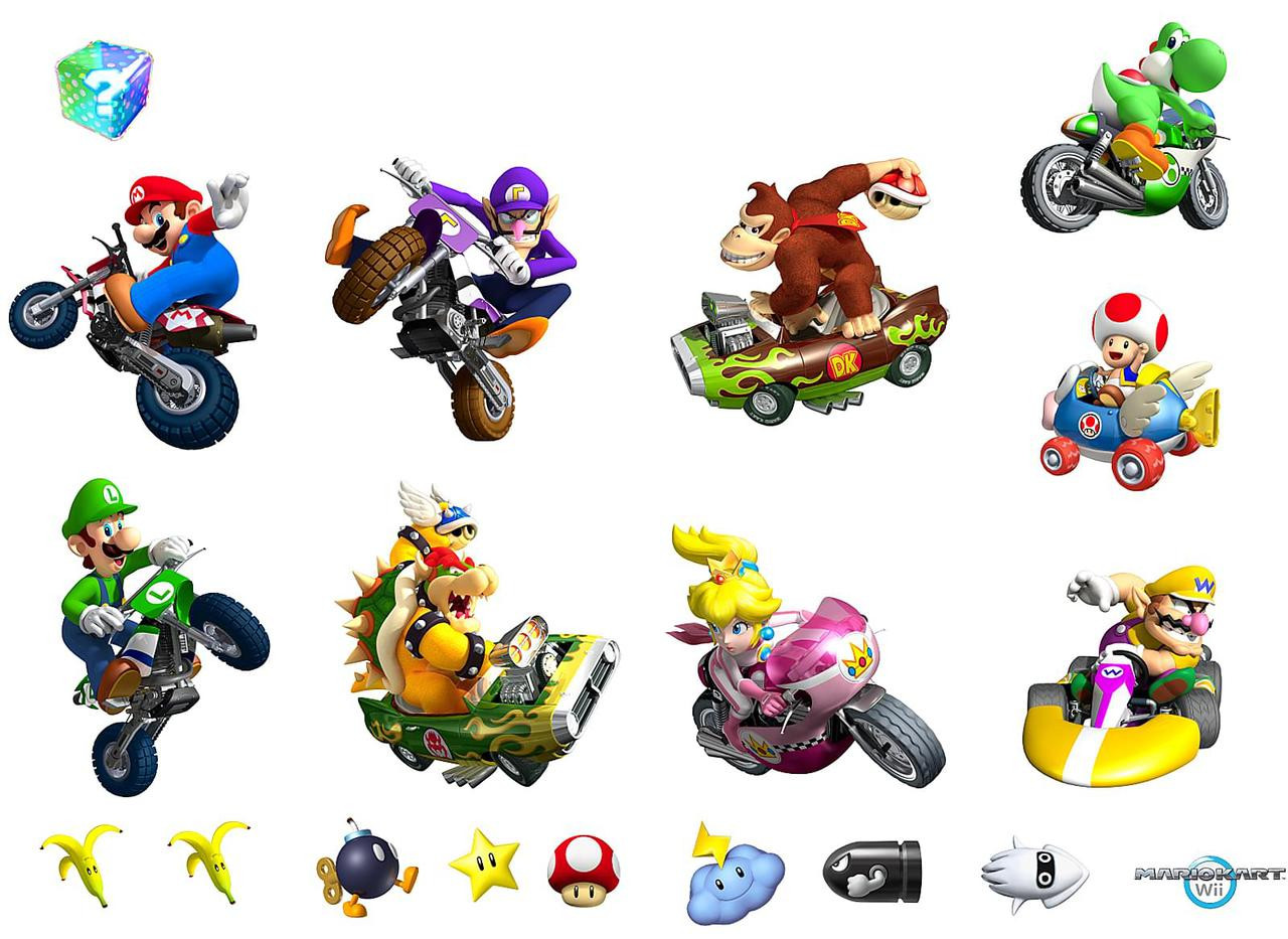 mario kart wii removable wall decorations. Black Bedroom Furniture Sets. Home Design Ideas
