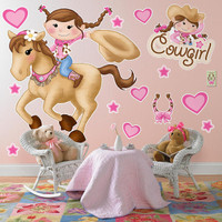 Pink Cowgirl Giant Wall Decals