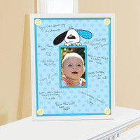 Playful Puppy Blue Framed Signature Matte