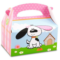 Playful Puppy Pink Empty Favor Boxes