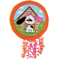 Playful Puppy Pink Pull-String Pinata