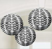 Zebra Print Round Paper Lanterns