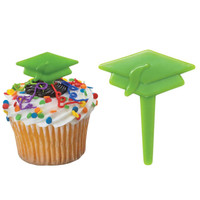 Graduation Cap Green - Cake Picks