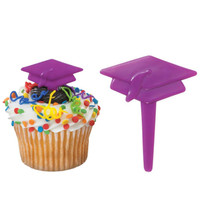 Graduation Cap Purple - Cake Picks
