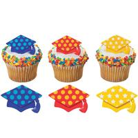 Bright Dot Grad Cap Graduation - Cake Pick Rings