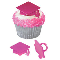 Iridescent Pink Grad Cap Graduation - Cake Pick Rings