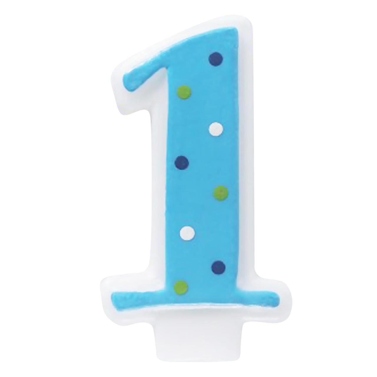 Pink 1st Birthday Polka Dot Candle: Blue #1 Candle With Polka Dots