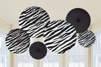 Zebra Printed Paper Fan Decorations