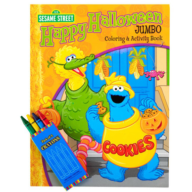 Sesame Street Halloween Jumbo Coloring Book and Crayons Set ...