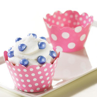 Pink and White Polka Dots Reversible Cupcake Wrappers