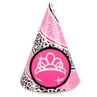 Diva Zebra Print 1st Birthday Cone Hats