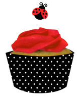 Ladybug Fancy Cupcake Wrappers with Picks