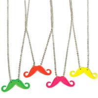 Neon Moustache Necklace