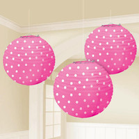 Bright Pink Lanterns with White Polka Dots