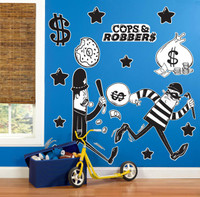 Cops and Robbers Party Giant Wall Decals