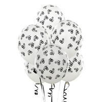 White with Black Tractors Matte Balloons