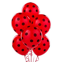 Red with Black Polka Dots Latex Balloons