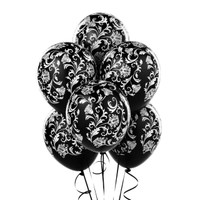 Damask Metallic Black Latex Balloons