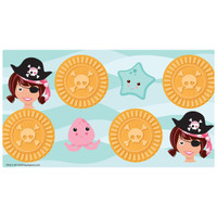 Pretty Pirates Party Small Lollipop Sticker Sheet