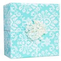 Robin's Egg Blue Brocade Gift Wrap Kit
