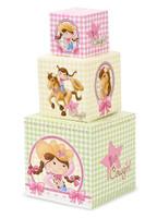 Pink Cowgirl 1st Birthday Building Blocks Centerpiece