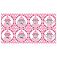 Sock Monkey Pink Large Lollipop Sticker Sheet