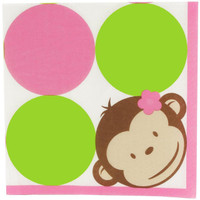 Pink Mod Monkey Lunch Napkins