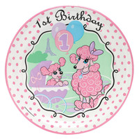 Pink Poodle in Paris 1st Birthday Dinner Plates