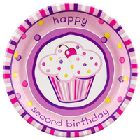 Girl's Lil' Cupcake 2nd Birthday Dinner Plates