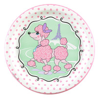 Pink Poodle in Paris Dinner Plates