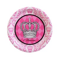 Elegant Princess Damask 1st Birthday Dinner Plates