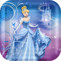 Disney Cinderella Sparkle Square Shaped Dinner Plates