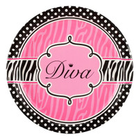 Diva Zebra Print Dinner Plates