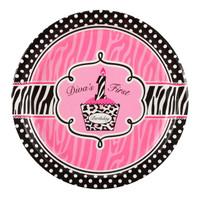 Diva Zebra Print 1st Birthday Dinner Plates