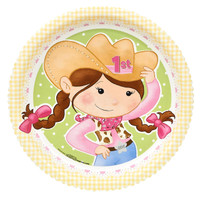 Pink Cowgirl 1st Birthday Dinner Plates (8)