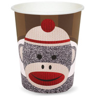 Sock Monkey Red 9 oz. Paper Cups