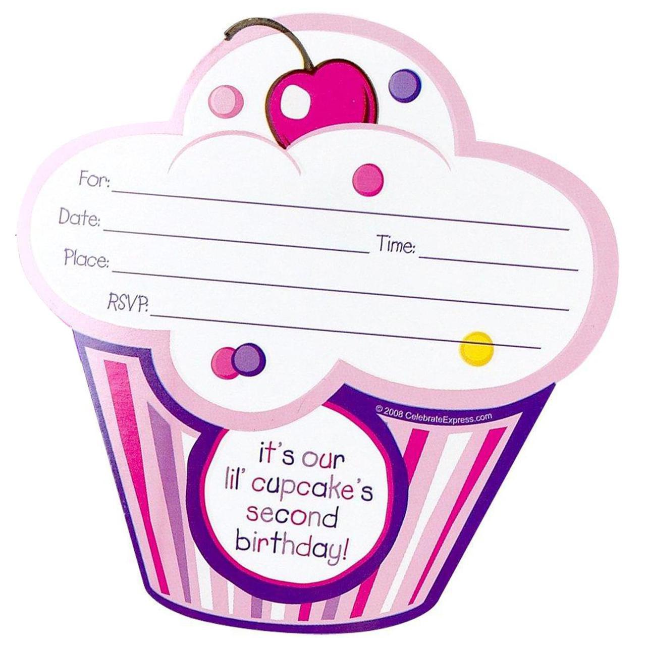 Girl's Lil' Cupcake 2nd Birthday Invitations