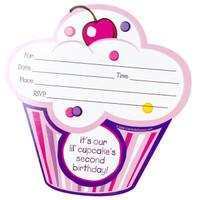 Girl's Lil' Cupcake 2nd Birthday Invitations