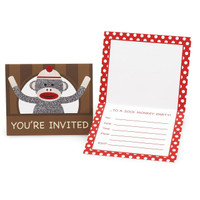 Sock Monkey Red Invitations