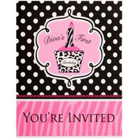 Diva Zebra Print 1st Birthday Invitations