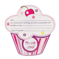 Girl's Lil' Cupcake 1st Birthday Thank-You Notes