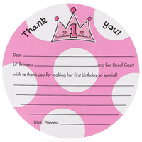 Lil' Princess 1st Birthday Thank-You Notes