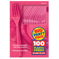 Bright Pink Big Party Pack Forks