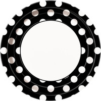 Black and White Dots Dinner Plates (8)