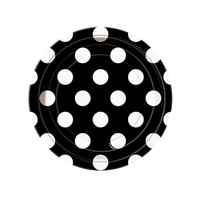 Black and White Dots Dessert Plates (8)