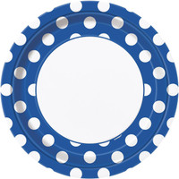 Blue and White Dots Dinner Plates (8)