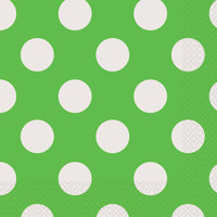 Green and White Dots Lunch Napkins (16)