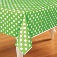 Green and White Dots Plastic Tablecover